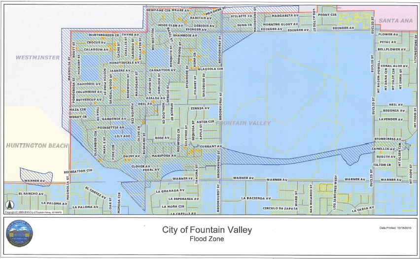 Flood Zone Fountain Valley CA Official Website - La flood zone map