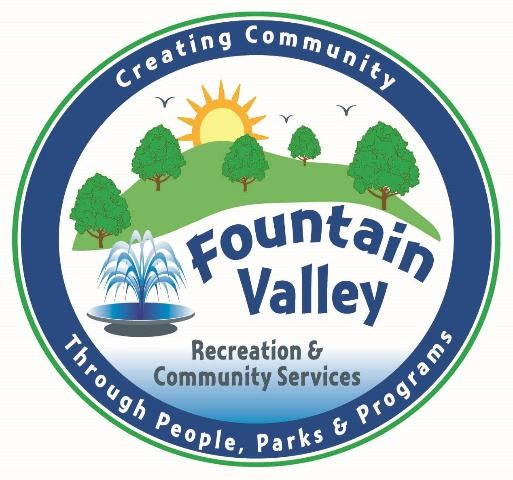 Fountain Valley Recreation Department Color Logo, drawing of tree, grass, blue sky