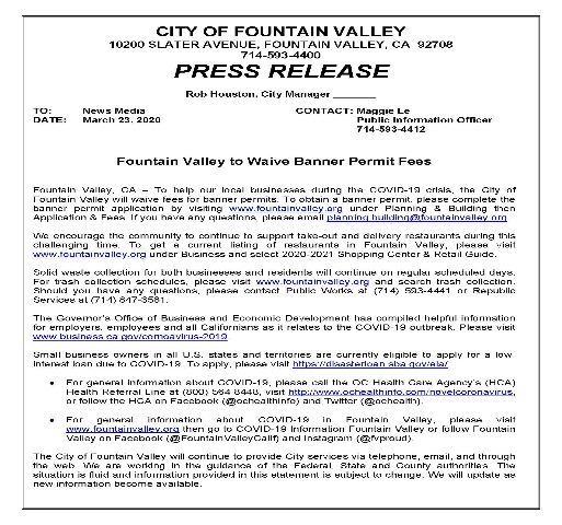 FV Waive Banner Permit Fees 3-23-2020
