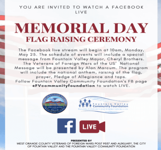 Memorial Day Flyer flag opague in background with Memorial Day Ceremony info in foreground