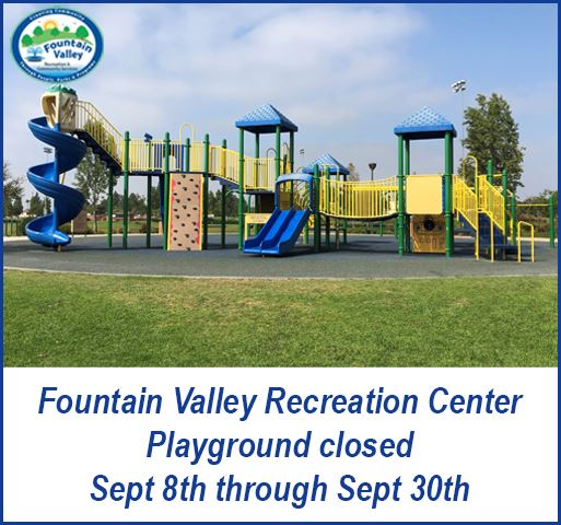 Rec Center Play Ground stucture with Rec Center logo and closure dates listed