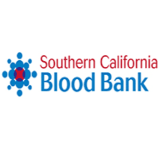 CA. Blood Bank logo in red, white, blue