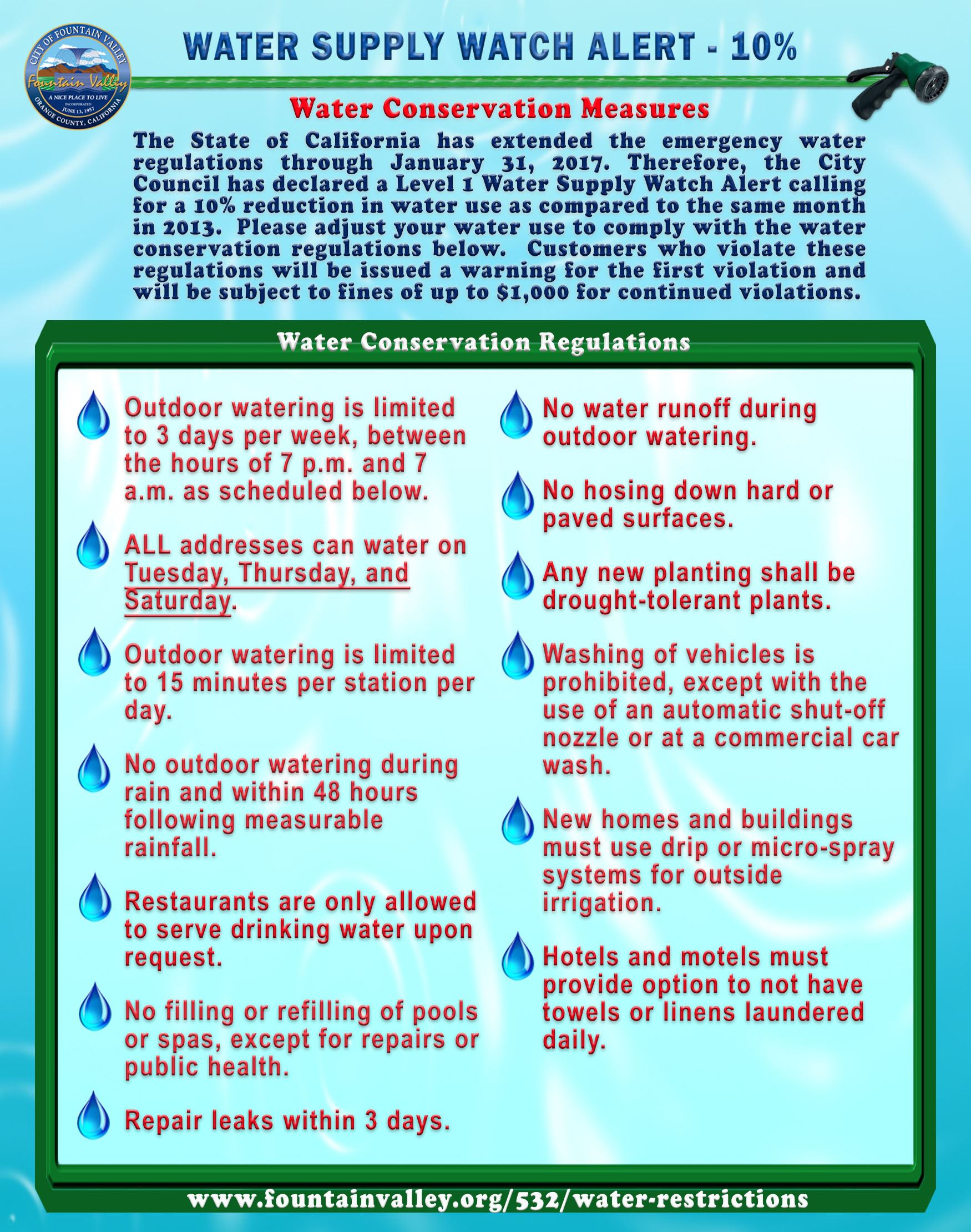 July 2016 New Water Regulations