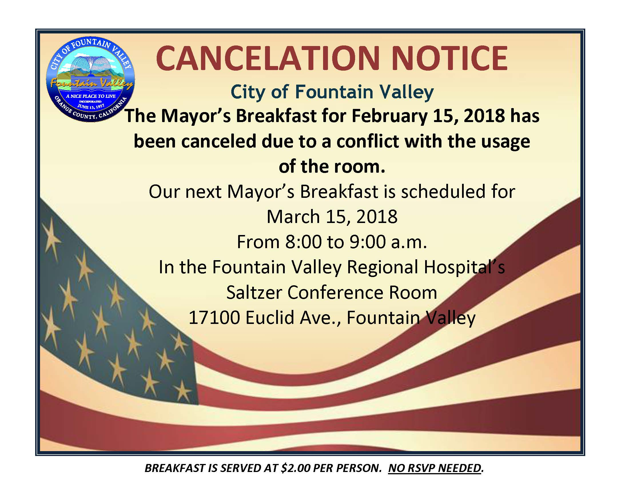 Cancel - Mayors Breakfast for February 15 2018