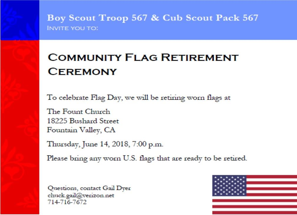 Flag retirement ceremony 6-14-18