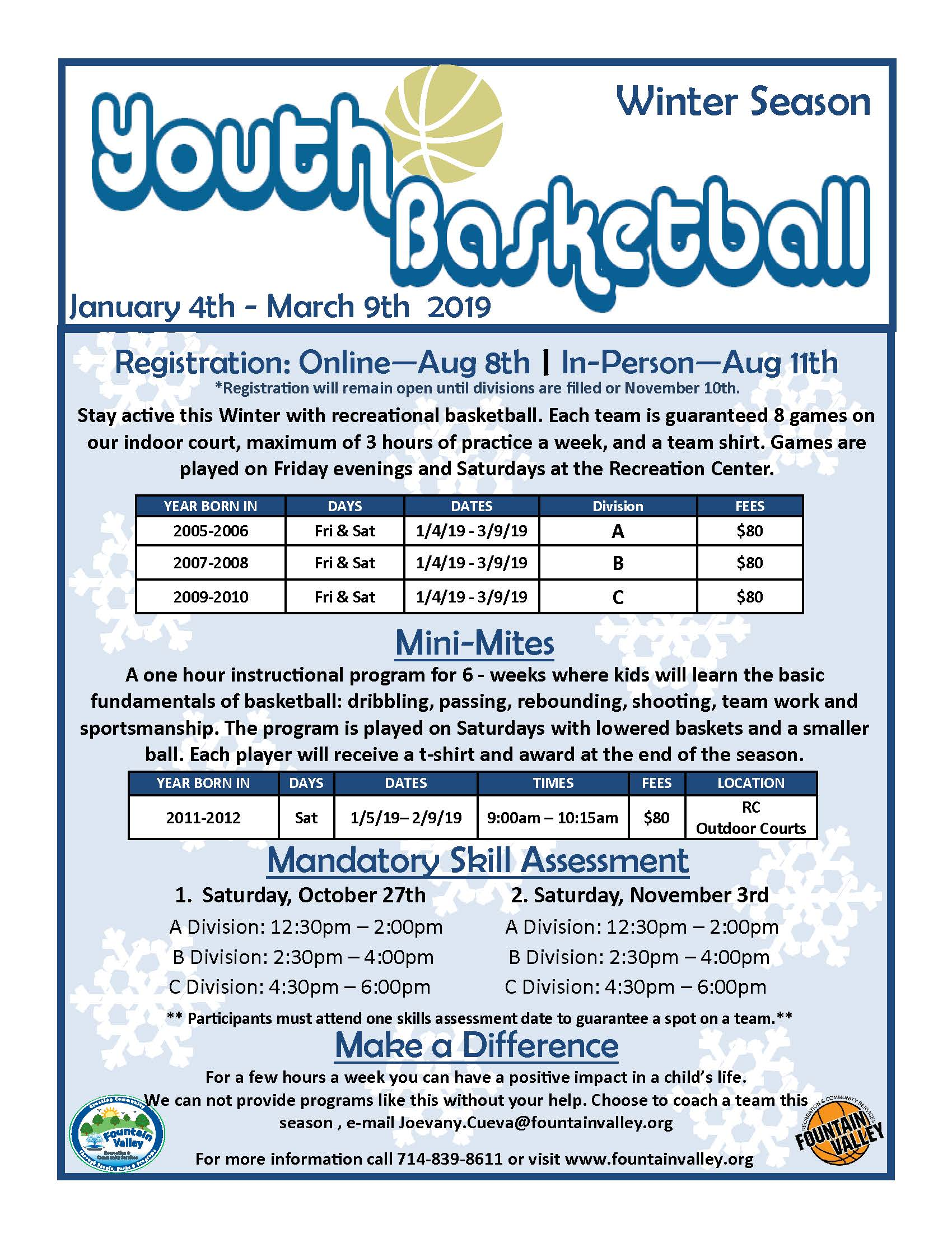 2019 Winter Youth Basketball Flyer