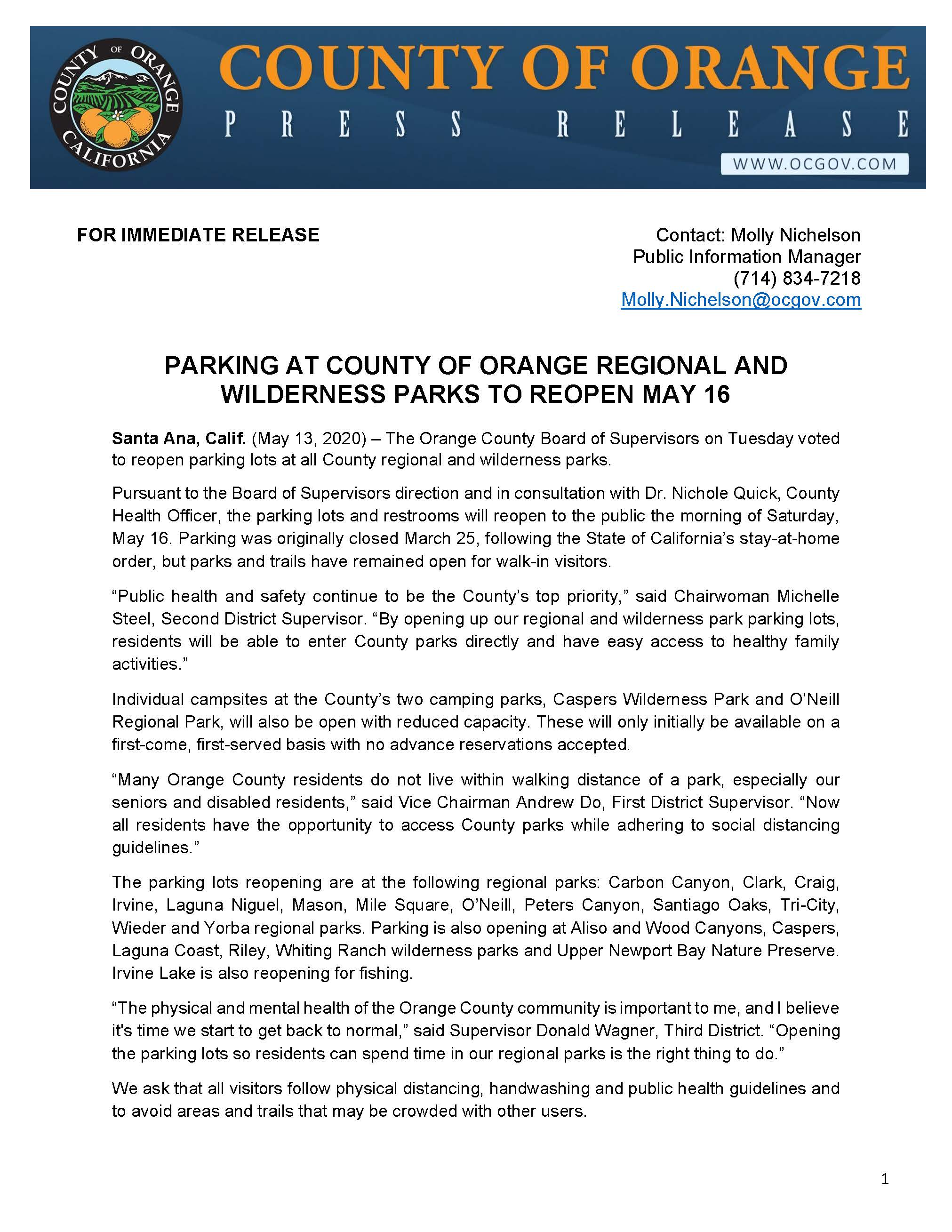 PRESS RELEASE_Parking at County Of Orange Regional and Wilderness Parks to Reopen May 16_Page_1