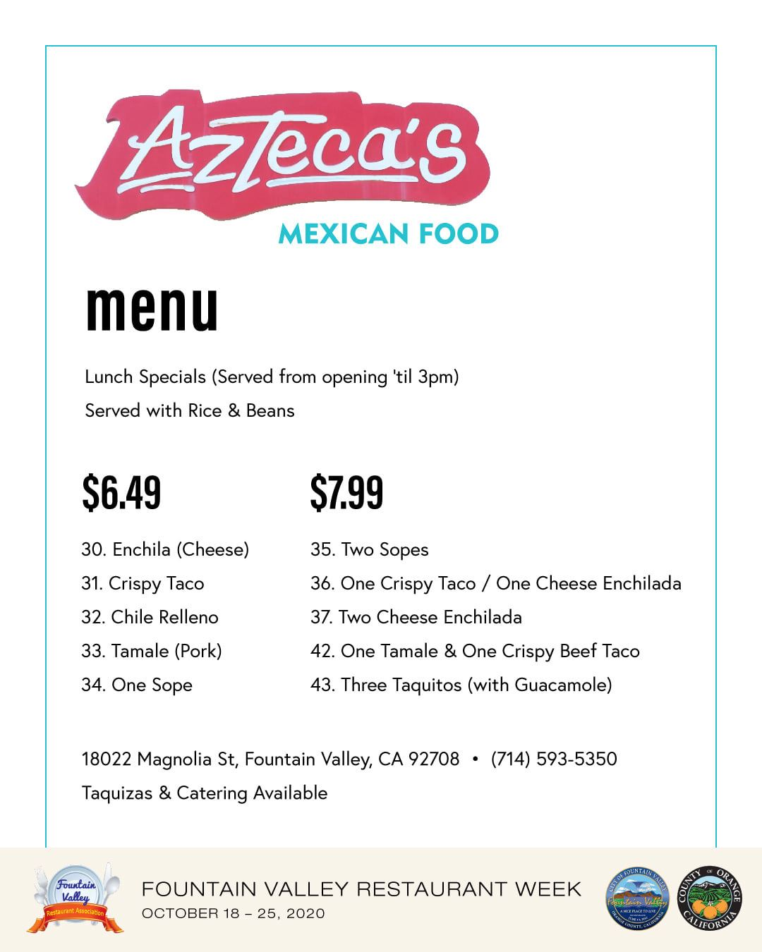 Aztecas Mexican Food Menu 10-2020