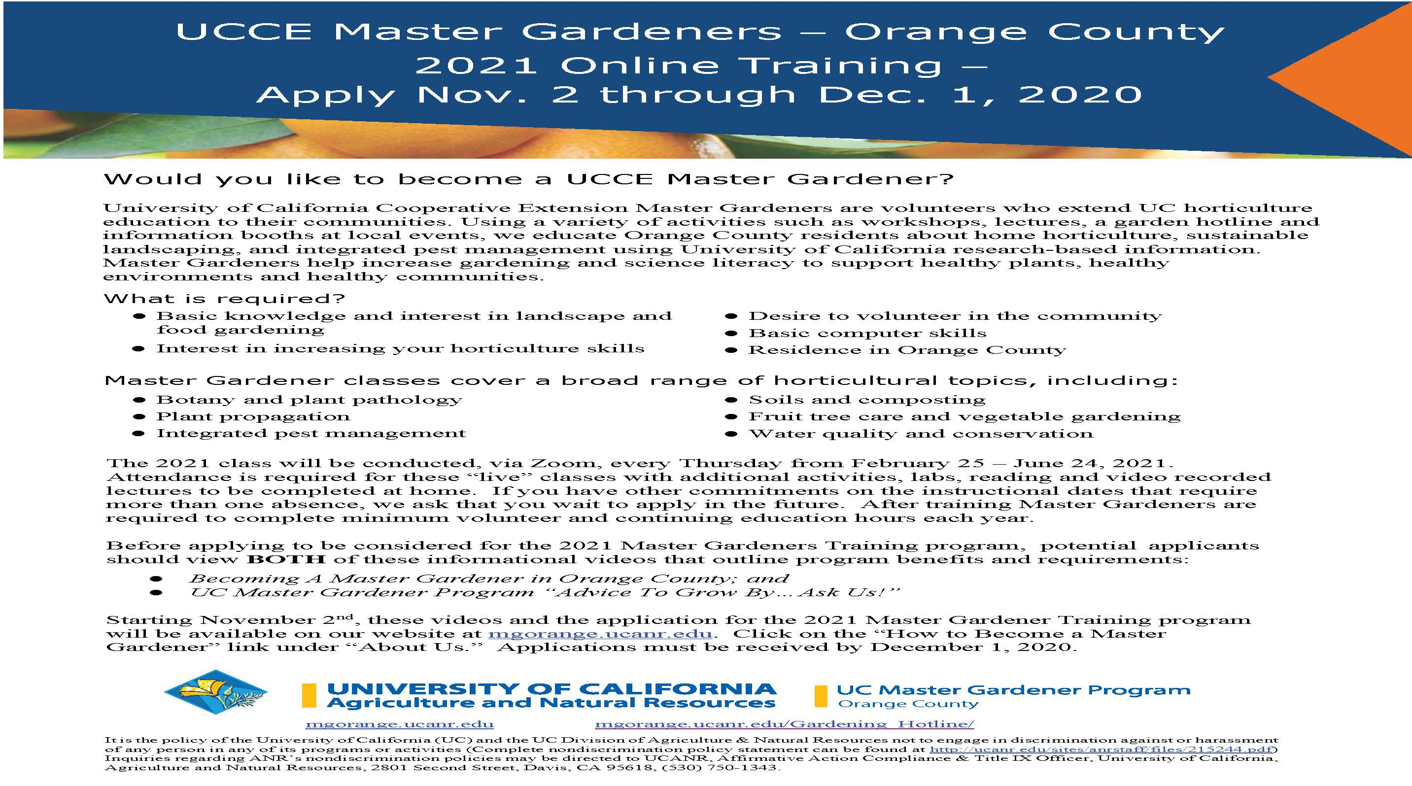 UCCE Master Gardeners Info Day Flyer 2020 Final v3