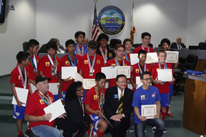 Mayor Vo Honors Boys Gold Soccer Team